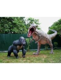 Dinosaurier Tyrannosaurus mit Gorilla