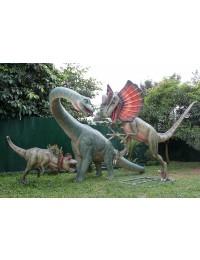 Dinosaurier Velociraptor greift Brachiosaurus an