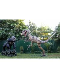 Dinosaurier Velociraptor kämpft mit Gorilla