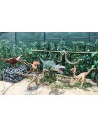 Dinosaurier Pteranodon, Tyrannosaurus, Raptors und Schlange