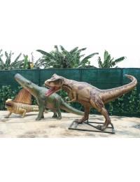 Dinosaurier Tyrannosaurus, Brachiosaurus und Dimetrodon