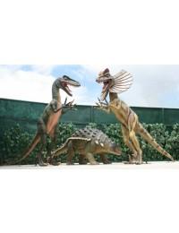 Dinosaurier Velociraptor, Dilophosaurus greifen Edmontonia an
