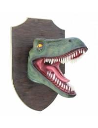 Dinosaurier Raptorkopf grün auf Holz