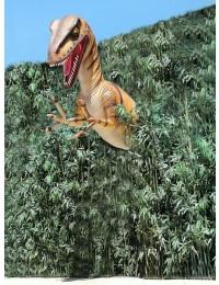 Dinosaurier Velociraptor hinter Bäumen Oberkörper