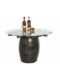 Weinfass und Schiffssteuer Tisch mit Glasplatte