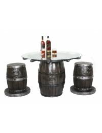 Weinfass und Schiffssteuer Tisch mit Glasplatte und Hocker