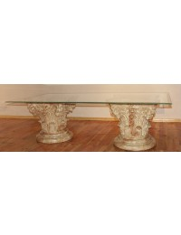 Säulen Tisch mit Glasplatte