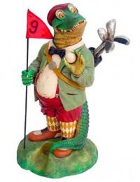Krokodil als Golfcaddy