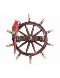 Schiffssteuer Garderobe mit Papagei
