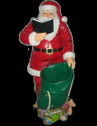lesender Weihnachtsmann mit Sack