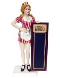 Amerikanische Kellnerin mit Menütafel