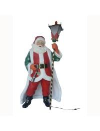 Königlicher Weihnachtsmann mit Umhang und elektirscher Laterne