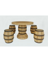 Tischset aus 4 Weinfasshockern und Weinfasstisch