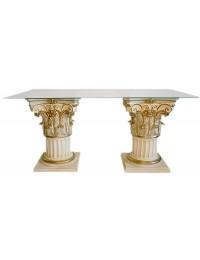 2-Säulen Tisch mit Glasplatte