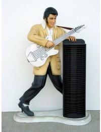 Elvisdouble klein mit Gitarre und CD-Ständer