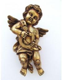 Engelputte hängend mit Harfe gold
