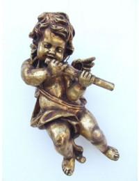 Engelputte hängend mit Flöte gold