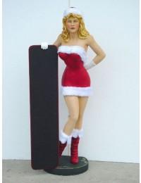 Weihnachtsgirl mit Tafel