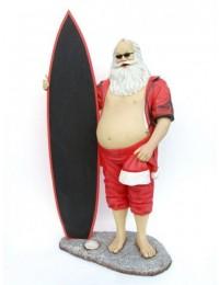 Weihnachtsmann als Surfer mit Angebotstafel