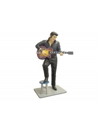 Elvisdouble  mit Gitarre in Leder