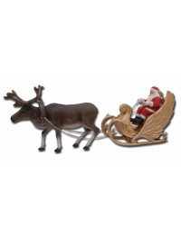 Weihnachtsschlitten zusammen mit Rentier