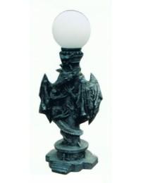 Stehlampe mit Drachen an der Säule und Kugelglas