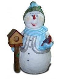 Schneemann mit Vogelhaus