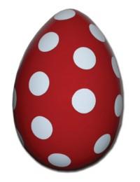 Osterei rot mit weißen Punkten