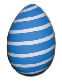 Osterei blau weiß gestreift