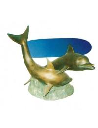 Glastisch mit goldenen Delfinen