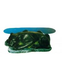 Glastisch mit schwarzem Panther