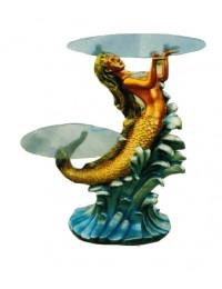 Glastisch doppelt mit Meerjungfrau