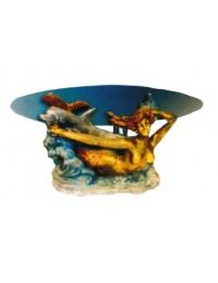 Glastisch mit Meerjungfrau und Delfin