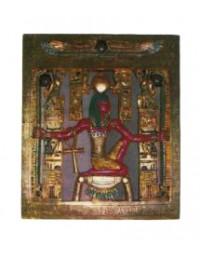 Ägypter auf Wandtafel mit Hieroglyphen