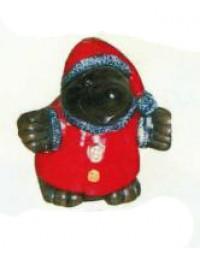 kleiner Maulwurf verkleidet als Weihnachtsmann