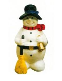 Schneemann mit Besen und Glocke