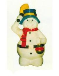 Schneemann mit hochgehaltenem Besen