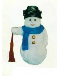 Schneemann mit Besen in der Hand