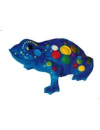 blauer Frosch mit farbigen Knöpfen