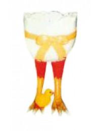 halbes Osterei auf Hühnerfüßen mit Küken groß