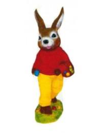 kleiner Osterhase mit Eierkorb gelb rot