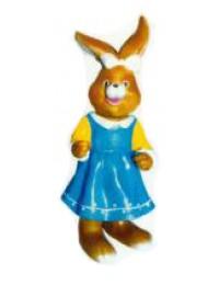 kleine Osterhäsin im blauen Kleid