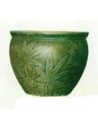 Pflanztopf grün mit Cannabis Musterung
