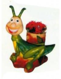lustiger Grashüpfer mit Blumentopf