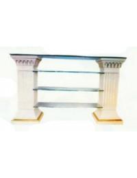 Säulenregal mit Glasplatte und 3 Glasböden