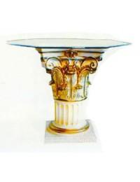 Säulentisch mit eckiger Glasplatte