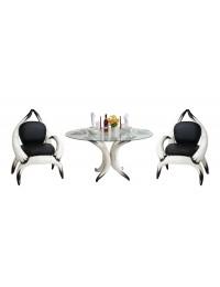Stierhornsitze und Tisch Rund mit Glasplatte