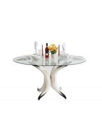 Stierhorntisch Rund mit Glasplatte