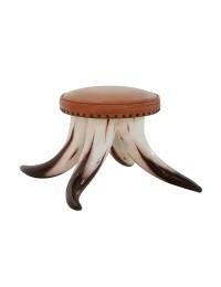 Stierhorn Fußhocker rund mit braunem Polster