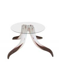 Stierhorntisch Rund mit Glasplatte 2